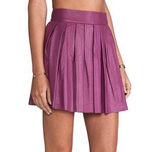 Alice & Olivia Pink Purple Leather Pleated Skirt 6